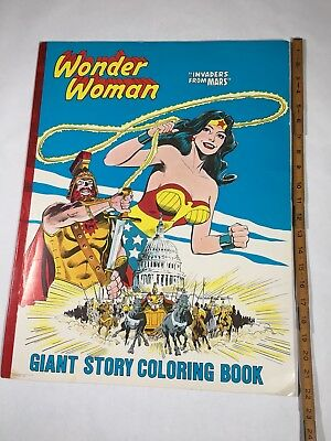"Wonder Woman Invaders From Mars Giant Story Coloring Book 1981 DC Comics 22""x17"""