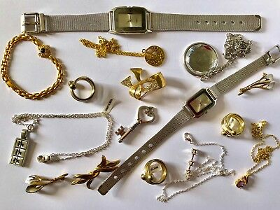 Job Lot Of Costume Jewellery Rings Necklaces Watches Bracelet Etc Used