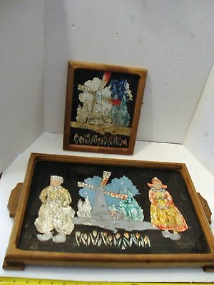 Old Vintage Wood Tray Reverse Painted  On Glass Foil Art Dutch Windmill Holland