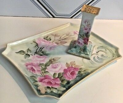 GORGEOUS!antique French Limoges Hand Paint Roses vanity tray+gilt hat pin holder