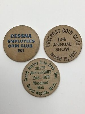 Vintage Lot of 3 Coin Club Wooden Nickels CESSNA GRAND RAPIDS FREEPORT Clubs