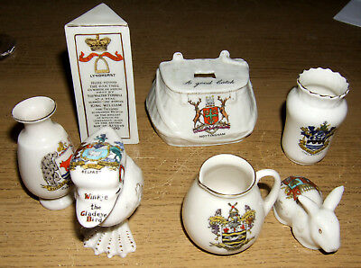 A COLLECTION OF 7 ANTIQUE CRESTED WARE ITEMS carlton shelley arcadian