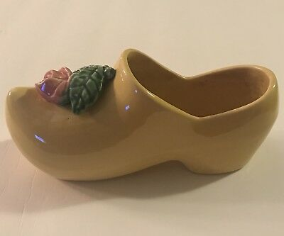 Vintage MCCOY Yellow Dutch Shoe Planter Pot with Pink Rose & Green Leaves