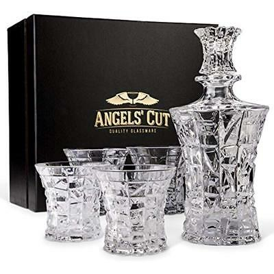 Regal Liquor Decanters Whiskey Set With 4 Scotch Glasses By Angels Cut. Hand 5
