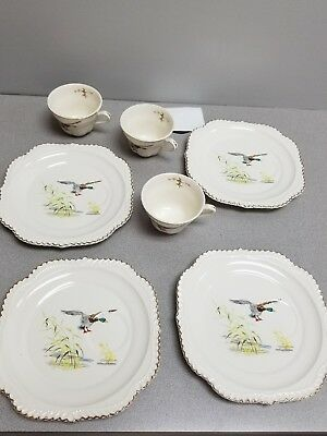 Harker Pottery Co. Snack Set 4 Plates/3 Cups+