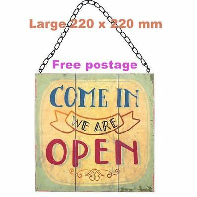 Vintage open / closed shop door window hanging sign double sided metal chain new