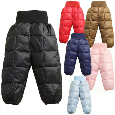 Kids boys girls Cotton Down Winter Trousers Thermal Windproof Ski Snow Pants