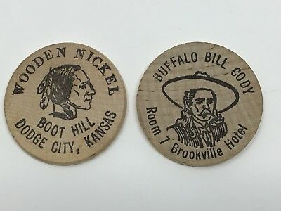 Lot of 2 Wooden Nickels Boot Hill Dodge City Buffalo Bill Cody Brookville Kansas