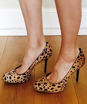 Tory Burch Leather Animal Print Pony Hair Fur Heel Court Shoes Heels UK 6 9M 39