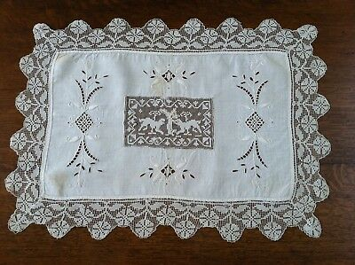 Beautiful Antique Early Victorian Embroidered/Filet Lace Traycloth, Animals