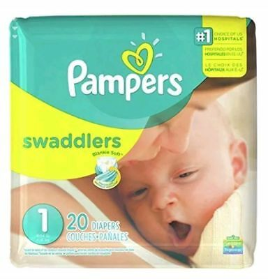 Pampers Swaddlers Diapers, Size 1, 8 to 14lbs Newborn Pack Of 4 (80 Count)
