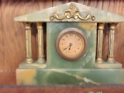 Vintage Brass And Green Marble Mantle Clock