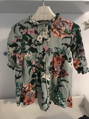 Next baby girl green floral long sleeved dress  9-12 months