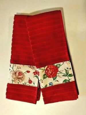 Longaberger Heirloom Floral Fabric Handmade Set of 2 Kitchen Dish Towels New