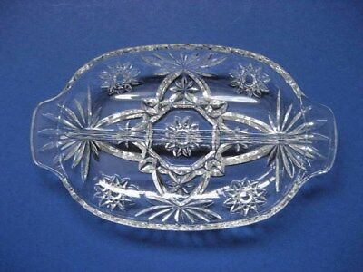 Crystal Glass Starburst Pattern Divided Serving Dish with 2 Sections Vintage