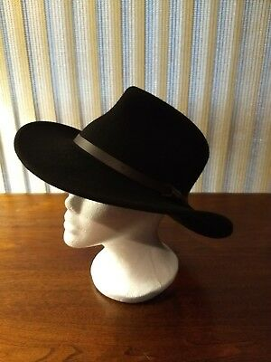 32bee026 PRE-OWNED DORFMAN PACIFIC SCALA 4 SEASONS HAND MADE 100% WOOL HAT Black  Medium