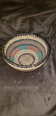 African Woven Basket 9in .. Beautiful colors