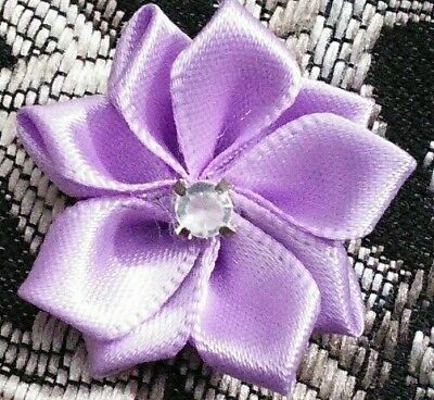 """50pcs 1"""" satin ribbon flower bows with rhinestone center for DIY crafts lavender"""