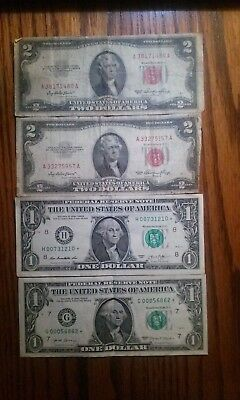 1953 Red Seal $2.00, 2013 & 2017 FRN $1.00 Star* Notes, Paper Money Lot