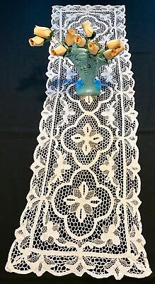 Antique Cotton Needle Lace Runner, Stunning Textile, Completely Hand Made