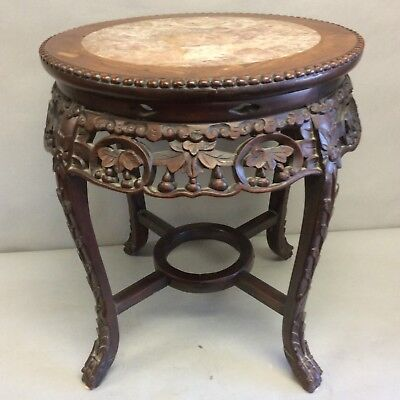 """19th C Chinese Carved Teakwood Marble Top Table/Stand 18.75""""T"""