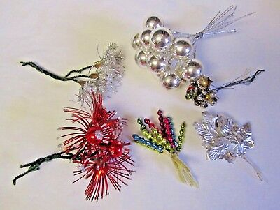 Lot Vintage Christmas Mercury Pick Spray Ornament Feather Tree Decoration JAPAN