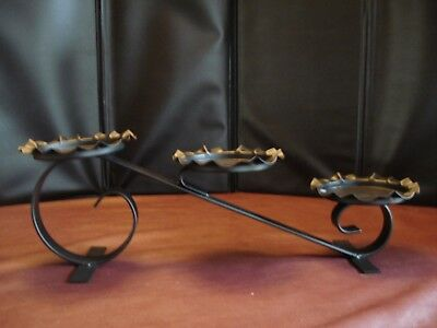 """Vintage Wrought Iron Candle/Plant Holder 5"""" x 14"""" x 4.5"""""""
