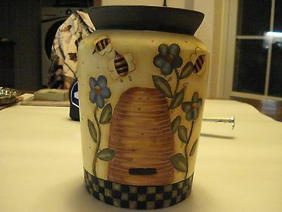 Bob's Pottery Hand Painted Ceramic Crock, Art by Karen Hillerd Crouch