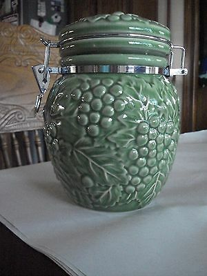 Green Decorative Ceramic Jar w/ Locking Lid, Grapes & Leaves Design