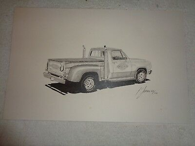 Lil Red Express Dodge Pickup Truck Limited Edition Drawing # 69 of 500 11 x 17
