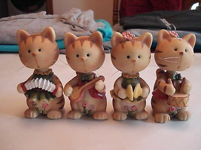 Set of 4 Ceramic Bobble Head Cats Playing Musical Instruments
