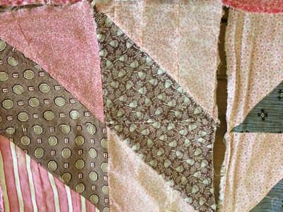 ~Back In Time Textiles~5 Primitive Antique 1860 cutter Quilt blocks EARLY fabric