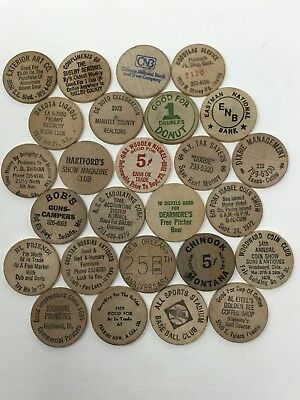 Vintage Lot of 26 Wooden Nickels Variety Mix Wood Buffalo Nickel Collectible