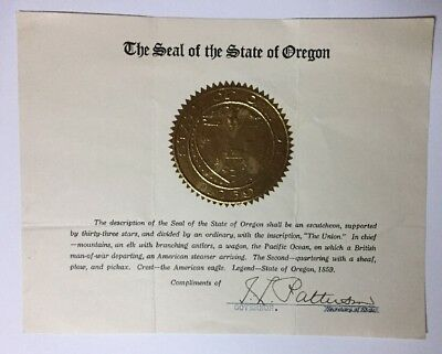 VTG Ike Patterson Governor of Oregon Autograph Seal of the State of Oregon