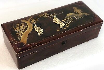 "Antique 11"" Burgundy Red China SHIBAYAMA Elk Bone Inlay Lacquer Dresser Box"