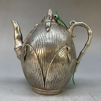 China collects Tibetan silver hand carved l teapot Qing Dynasty mark