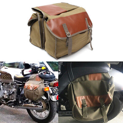 Motorcycle Rider Back Pack Storage Carry w/Double-strapped Flap Cover Saddle Bag