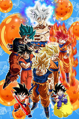 Dragon Ball Z/Super Poster Goku from Kid to Ultra 12in x 18in Free Shipping