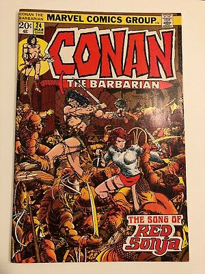 Conan The Barbarian#24 Vf 1973 First Red Sonja Cover Marvel Bronze Age Comics
