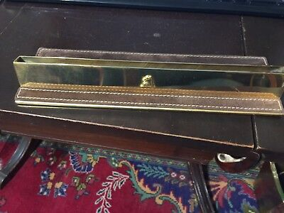 Vintage Desk Name Plate Holder Solid Brass & Suede Leather Made In Italy