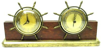 Salem Clock Co Ships Bell Brass Clock & Barometer On wood Display Stand Vintage