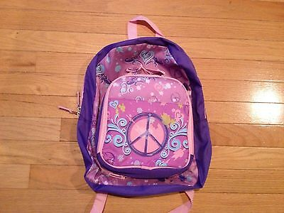 Kids School Backpack - Girls Toddler - Pink/Purple/ Peace Signs - NEW