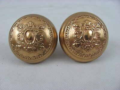 Pair of Vintage Antique Ornate Embossed Brass Door Knobs, Pat'd App. 23