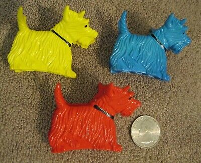 Girls Nos Vtg Set Of 3 Scottie Terrier Dog Hair Claw Banana Clip 70's 80's New