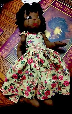 Vintage Folk Art Cloth Doll Black Americana Made from Patterned Barcloth