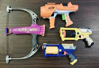 Nerf Gun Lot (4) with Rebelle Bow Tested and Works!