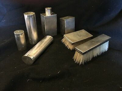 Antique 7 Piece Sterling Mens Dresser Set