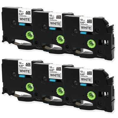 6PK Black on White Compatible for Brother P-Touch PT-D210  TZe 231 12 Label Tape