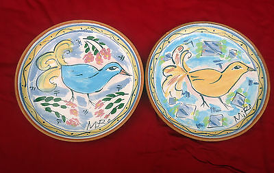 Vintage Funky Colourful Bird H/Painted Pottery Decorator Plates x 2 *Signed MIRO