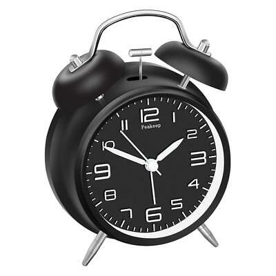"""Peakeep 4"""" Twin Bell Alarm Clock With Stereoscopic Dial, Backlight, Battery Oper"""